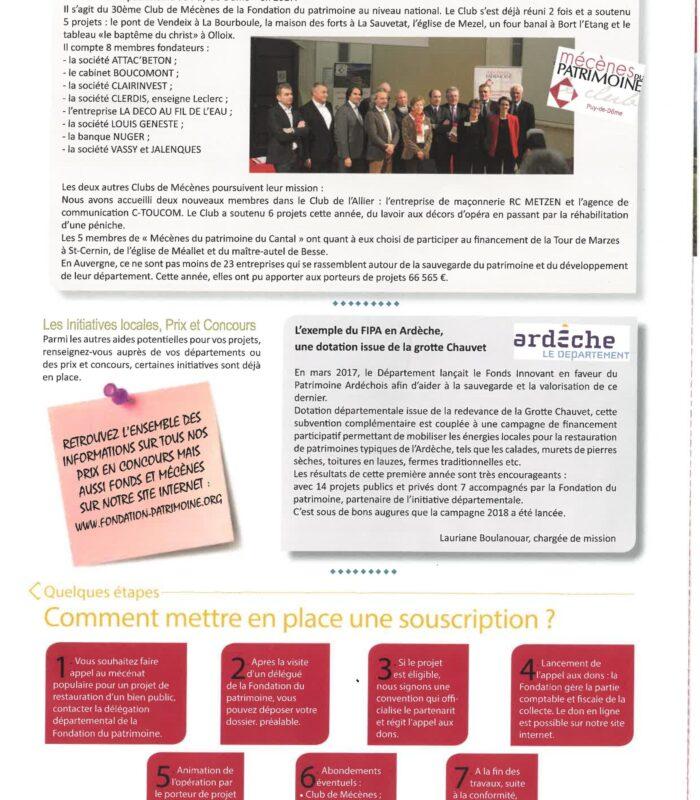 La Lettre de la Fondation du Patrimoine 3-2018 - Club de Mécène Puy de Dôme-page-001 (1)